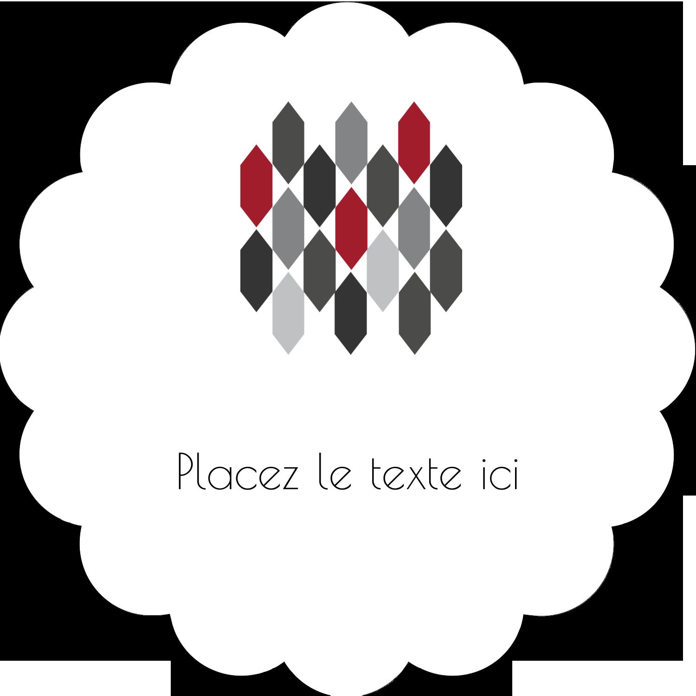 """2"""" Diameter Étiquettes festonnées - Hexagone rouge"""