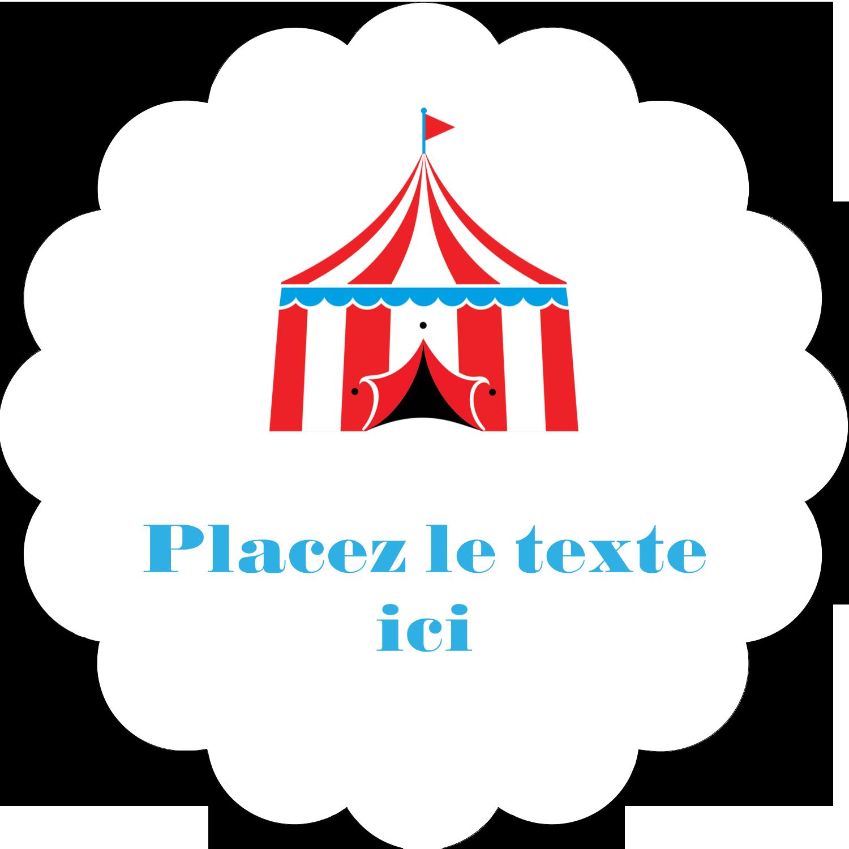 """2"""" Diameter Étiquettes festonnées - Chapiteau de cirque"""