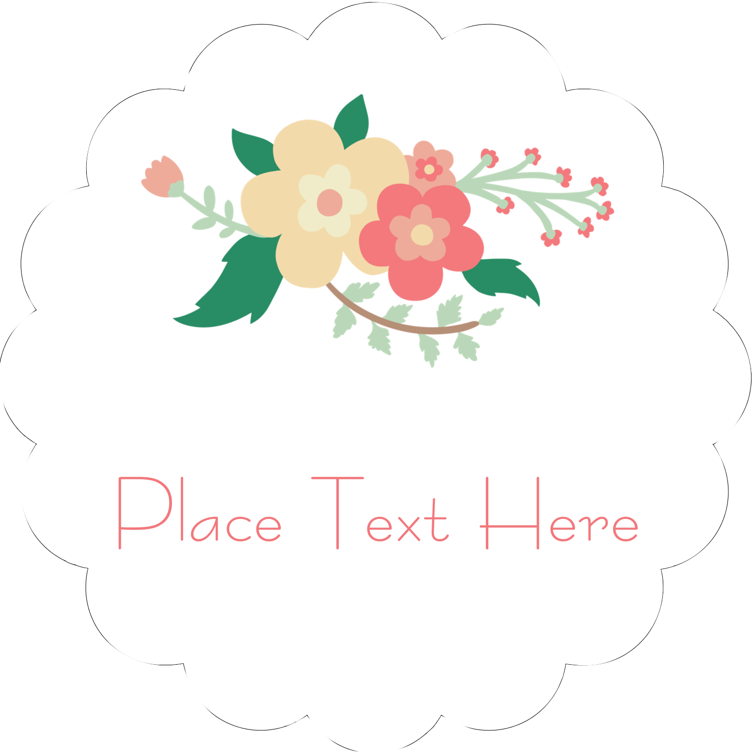 "2"" Scallop Oval Label - Floral Wreath"