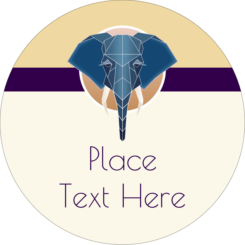 "3"" Round Label - Geometric Elephant"