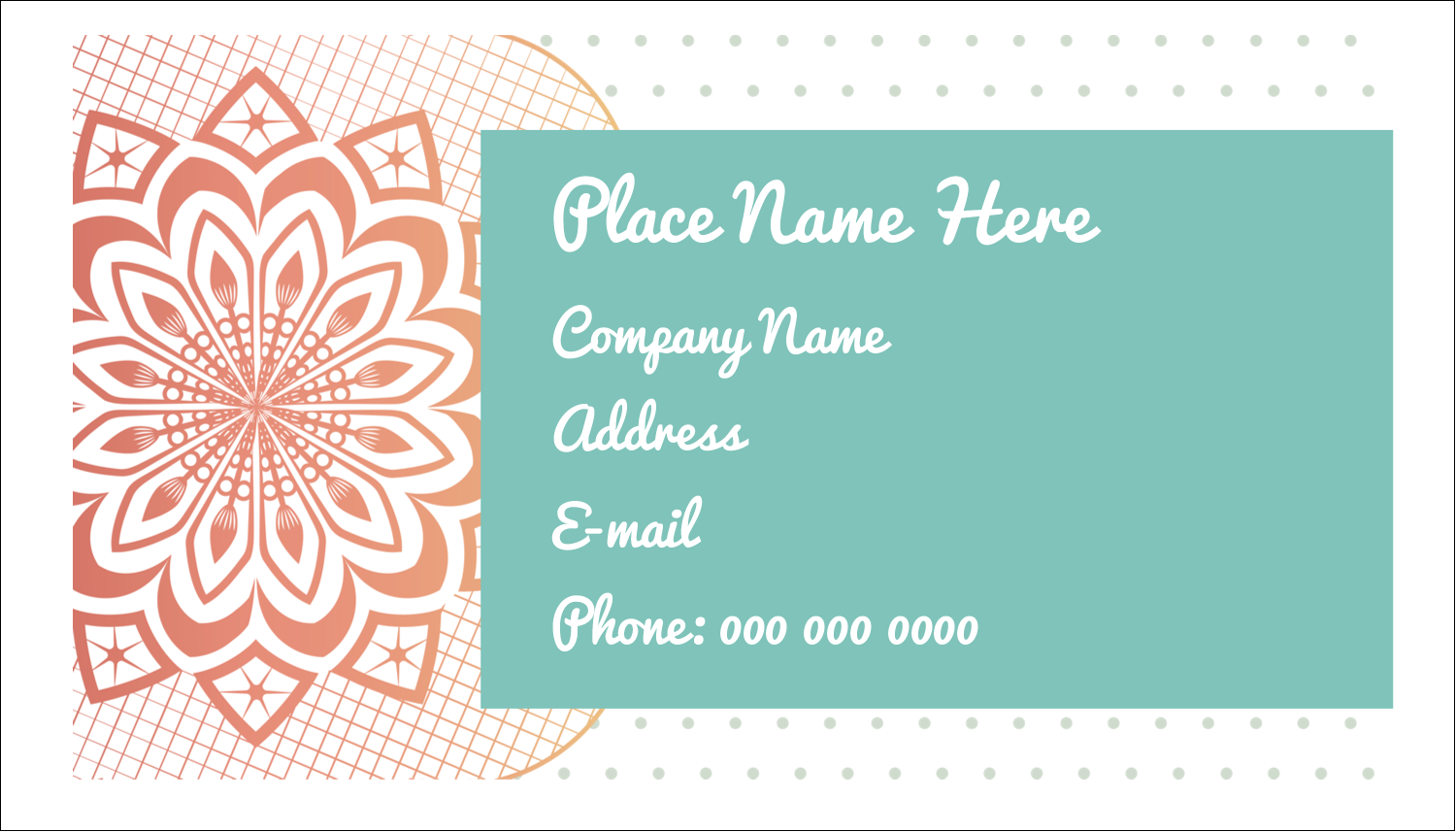 "2"" x 3½"" Business Card - Geometric Doily"