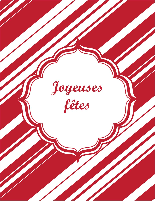 """5½"""" x 4¼"""" Carte Postale - Motif de canne de bonbon"""