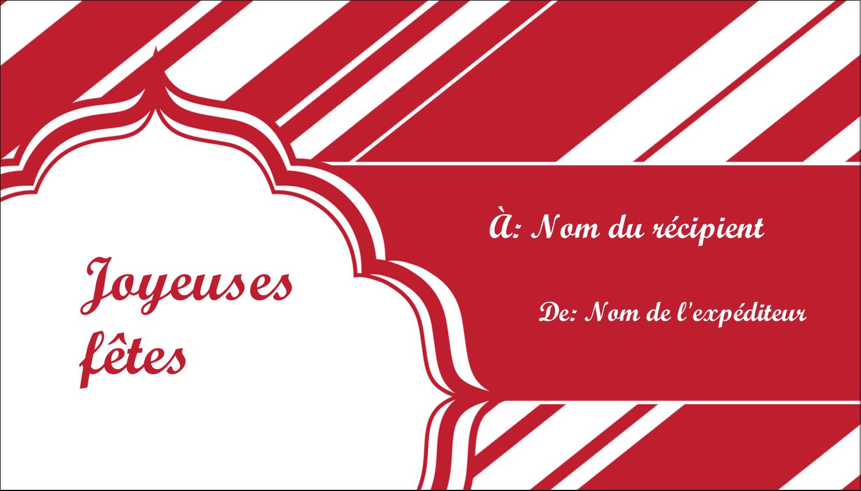 """3½"""" x 2"""" Carte d'affaire - Motif de canne de bonbon"""