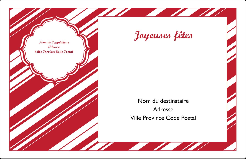 """1½"""" x 4"""" Étiquettes d'adresse - Motif de canne de bonbon"""