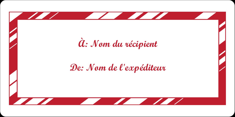 """3-7/16"""" x ⅔"""" Étiquettes de classement écologiques - Motif de canne de bonbon"""