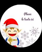 Petit Lutin de Noël Étiquettes rondes gaufrées - gabarit prédéfini. <br/>Utilisez notre logiciel Avery Design & Print Online pour personnaliser facilement la conception.