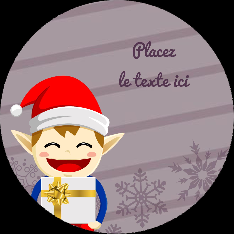 Petit Lutin de Noël Étiquettes rondes - gabarit prédéfini. <br/>Utilisez notre logiciel Avery Design & Print Online pour personnaliser facilement la conception.