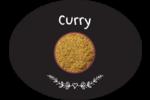 Cari, épices et fines herbes sur tableau noir Étiquettes ovales festonnées - gabarit prédéfini. <br/>Utilisez notre logiciel Avery Design & Print Online pour personnaliser facilement la conception.