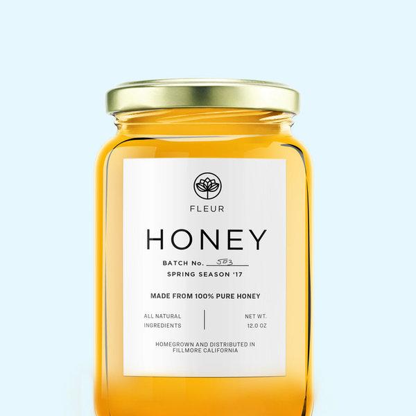 Étiquette de miel blanc