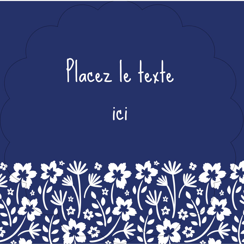 """2½"""" Diameter Étiquettes rondes - Petit bouquet bleu"""