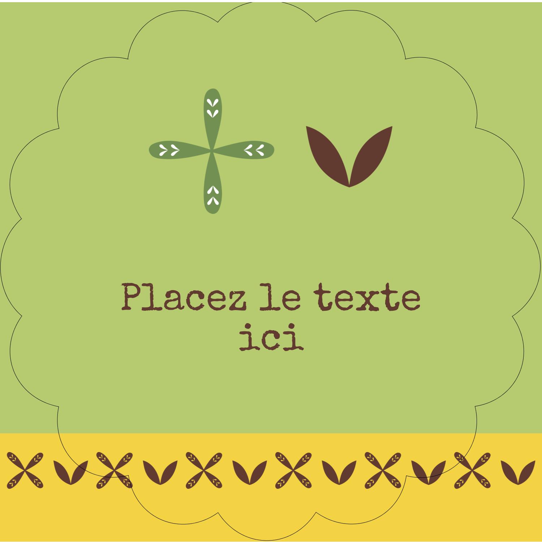 """2½"""" Diameter Étiquettes rondes - Fleurs vertes géométriques"""