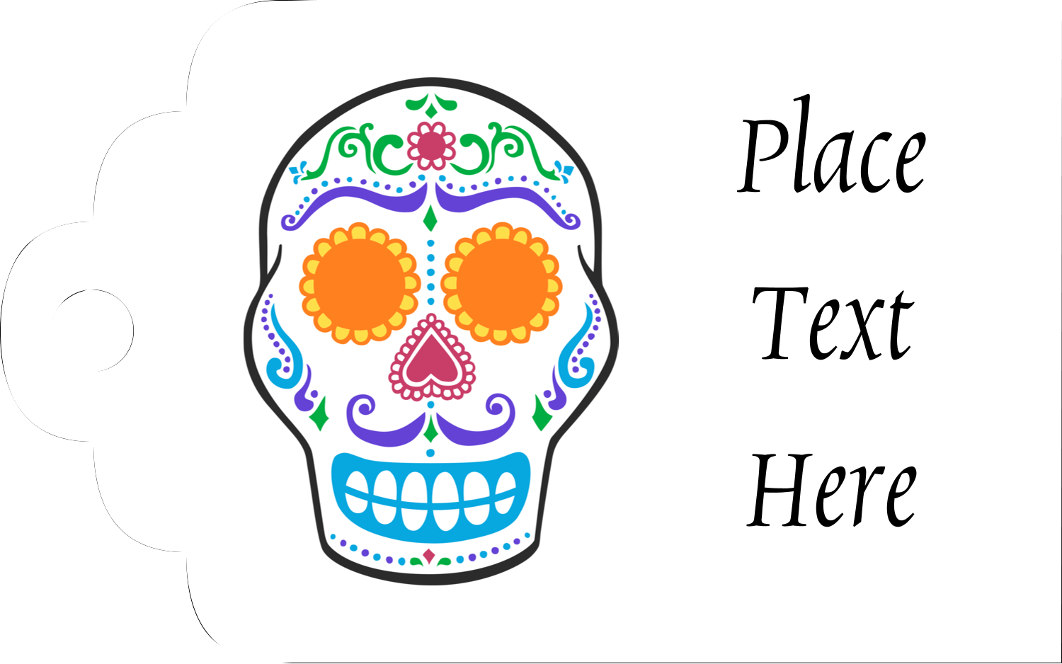 "2"" x 1⅛"" Printable Tags - Day of the Dead Skull"