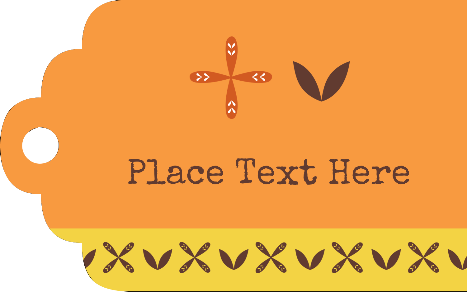 "2"" x 1⅛"" Printable Tags - Geometric Orange Blossoms"