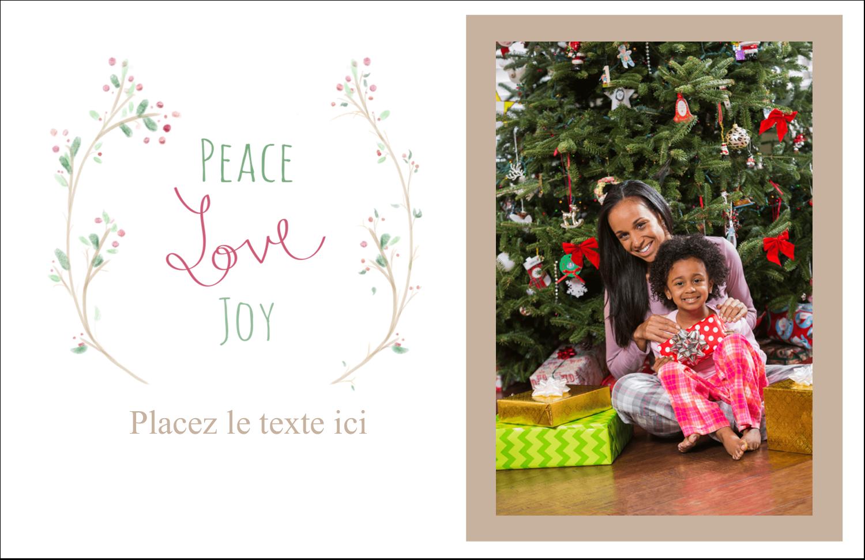 """5½"""" x 8½"""" Cartes de souhaits pliées en deux - Les gabarits Paix, amour et joie pour votre prochain projet créatif des Fêtes"""