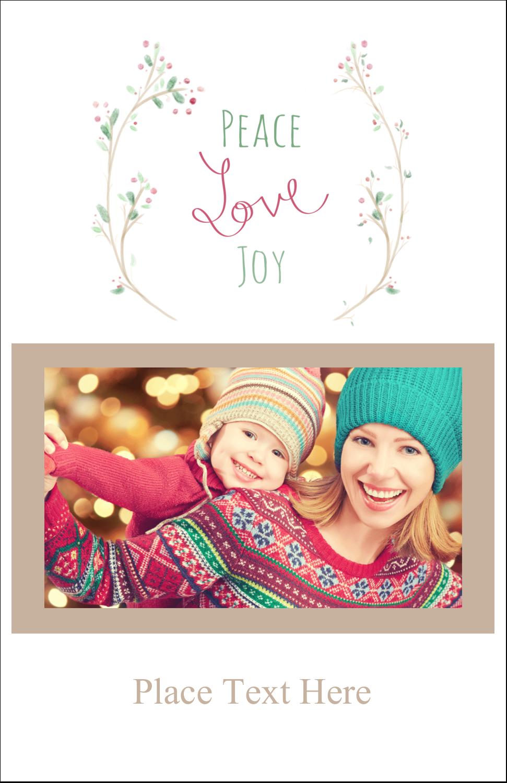 "5"" x 8½"" Half Fold Card - Peace Love Joy"