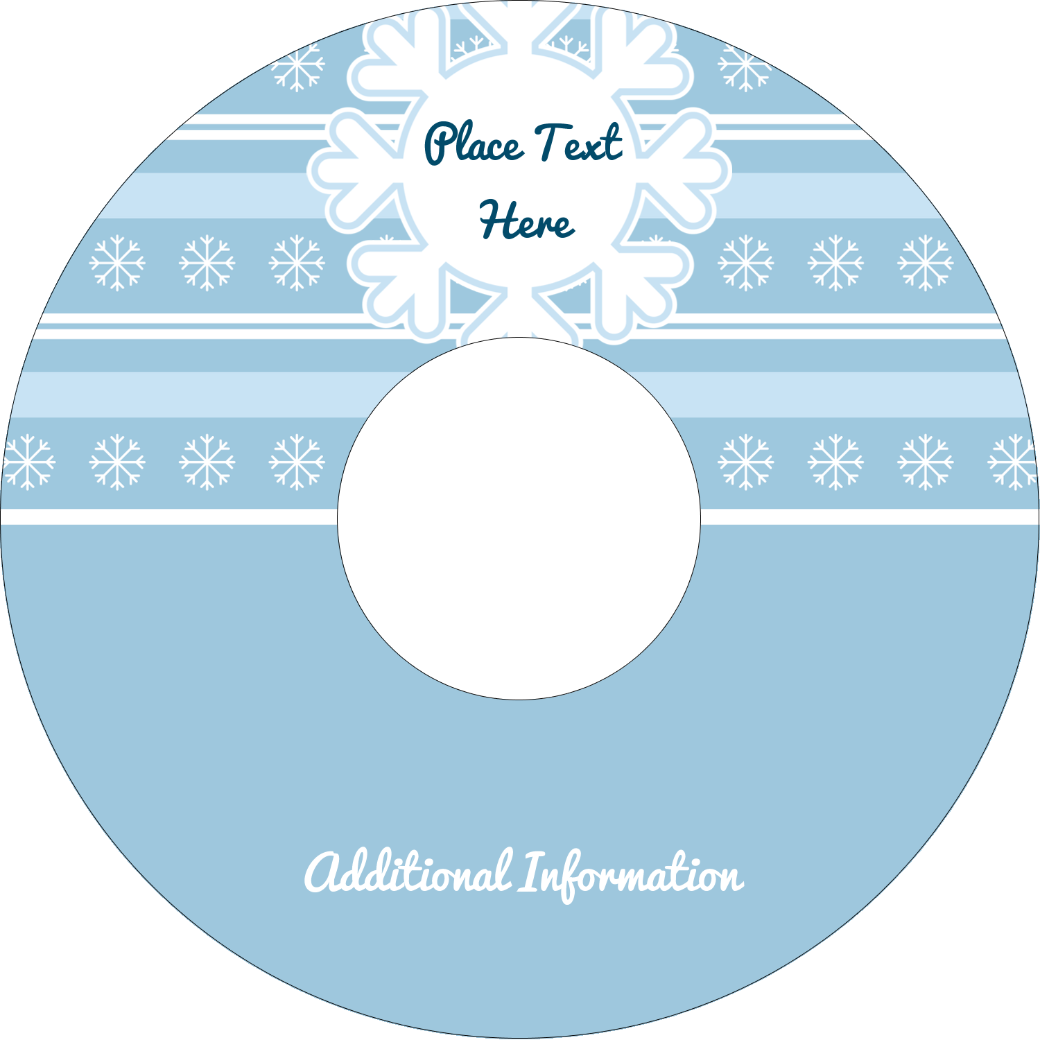 "4.65"" CD-DVD Label - Blue Snowflake"
