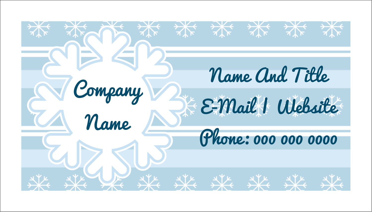 "2"" x 3½"" Business Card - Blue Snowflake"
