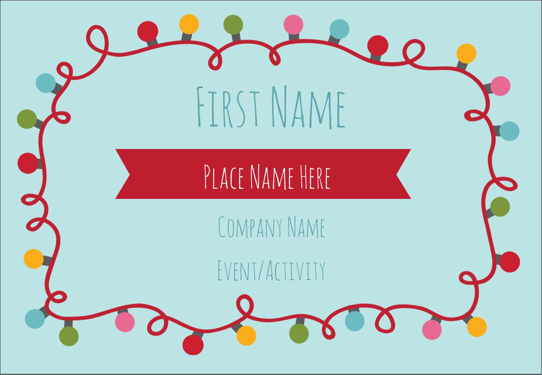 """3⅜"""" x 2⅓"""" Name Badge - Holiday Lights"""
