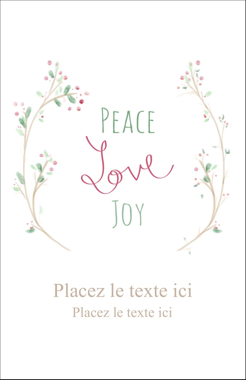 """8½"""" x 5"""" Cartes Et Articles D'Artisanat Imprimables - Les gabarits Paix, amour et joie pour votre prochain projet créatif des Fêtes"""