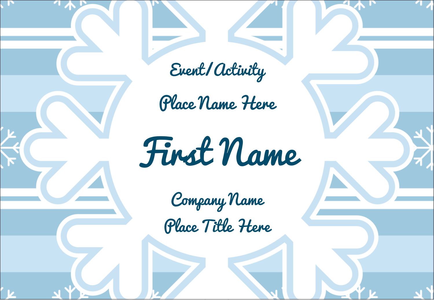 "3⅜"" x 2⅓"" Name Badge - Blue Snowflake"