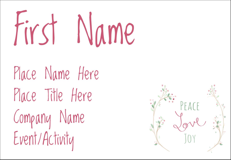 "3⅜"" x 2⅓"" Name Badge - Peace Love Joy"