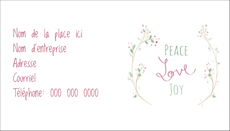"""2"""" x 3½"""" Carte d'affaire - Les gabarits Paix, amour et joie pour votre prochain projet créatif des Fêtes"""