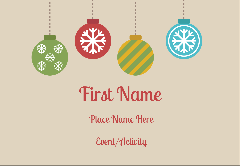 "3⅜"" x 2⅓"" Name Badge - Crafty Ball Ornaments"