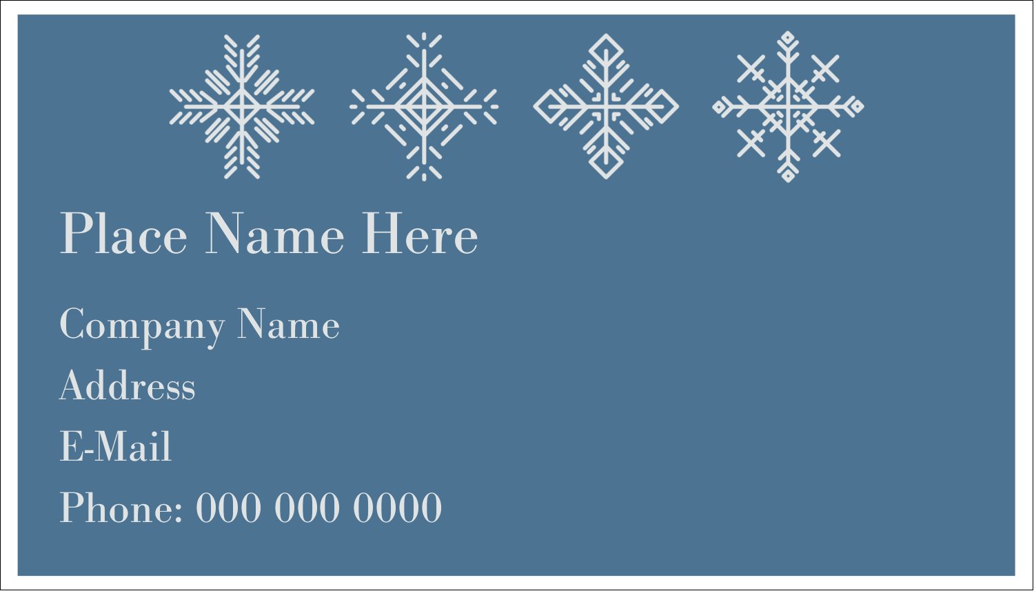 """2"""" x 3½"""" Business Card - Snowflakes"""
