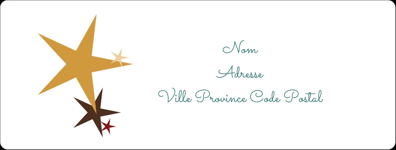 """1"""" x 2⅝"""" Étiquettes d'adresse - Étoiles du Nouvel An"""