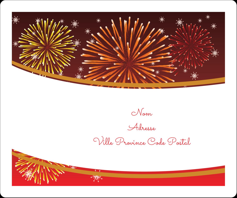 """½"""" x 1¾"""" Étiquettes D'Adresse - Feux d'artifice rouges du Nouvel An"""