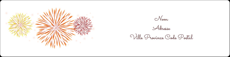 """1⅓"""" x 4"""" Étiquettes d'adresse - Feux d'artifice rouges du Nouvel An"""