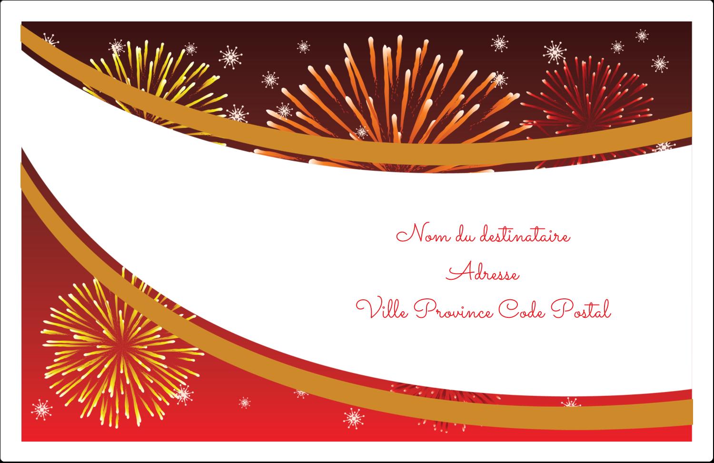 """1½"""" x 4"""" Étiquettes d'adresse - Feux d'artifice rouges du Nouvel An"""