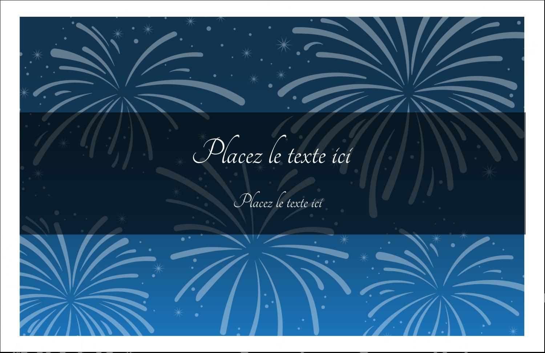 """5½"""" x 8½"""" Cartes de souhaits pliées en deux - Feux d'artifice bleus du Nouvel An"""