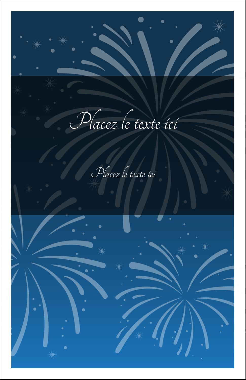 """8½"""" x 5"""" Cartes Et Articles D'Artisanat Imprimables - Feux d'artifice bleus du Nouvel An"""