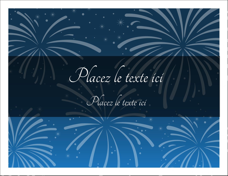"""8½"""" x 11"""" Cartes Et Articles D'Artisanat Imprimables - Feux d'artifice bleus du Nouvel An"""