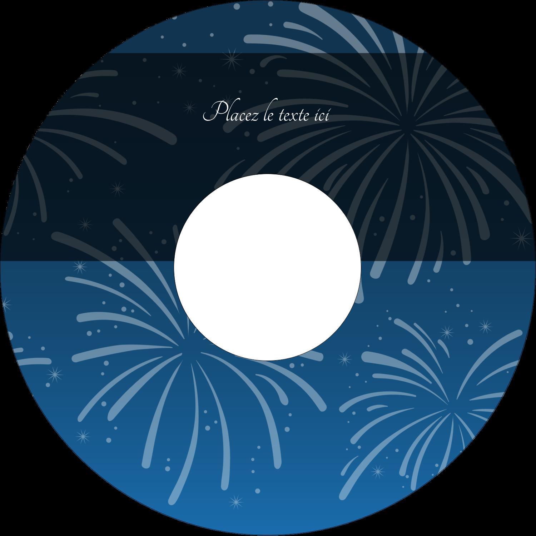 """⅔"""" x 3-7/16"""" Étiquettes de classement - Feux d'artifice bleus du Nouvel An"""