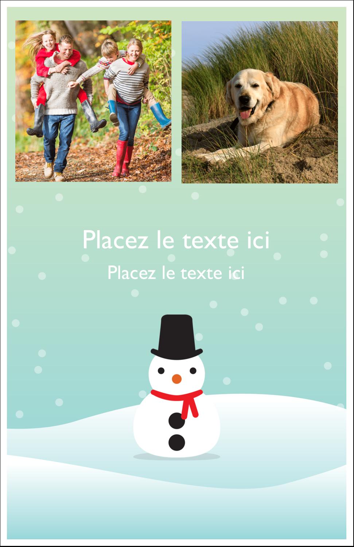 """8½"""" x 11"""" Binder Insert Reliures - Petit bonhomme de neige"""