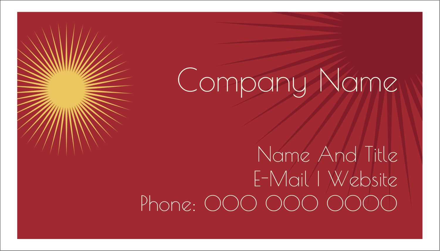 "2"" x 3½"" Business Card - New Year Suns"