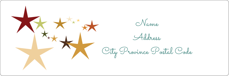 "1⅓"" x 4"" Address Label - New Year Stars"