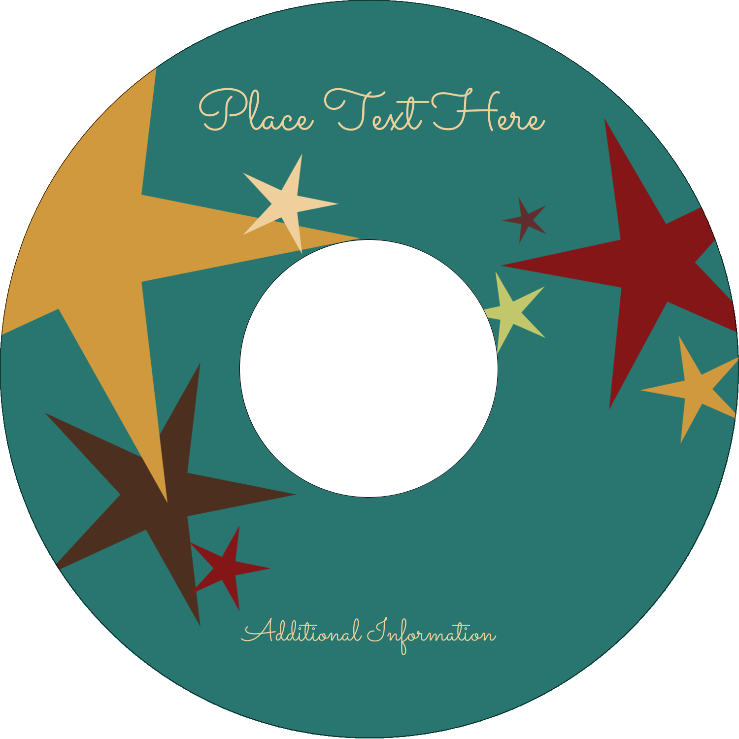 "4.65"" CD-DVD Label - New Year Stars"
