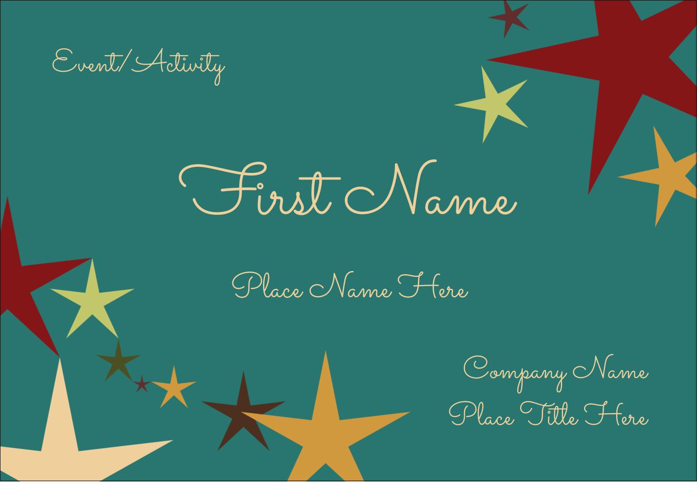 "3⅜"" x 2⅓"" Name Badge - New Year Stars"