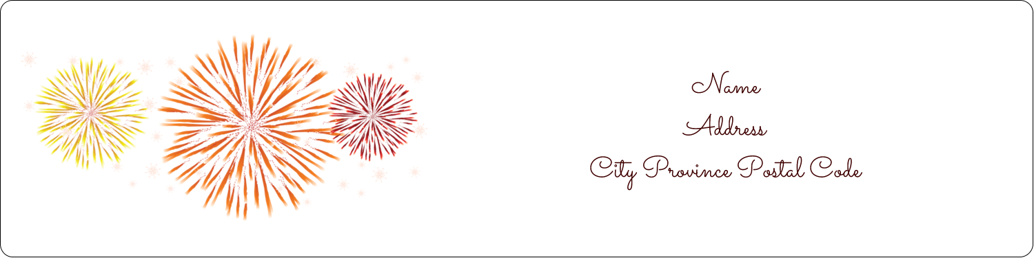 "1"" x 4"" Address Label - New Year Red Fireworks"