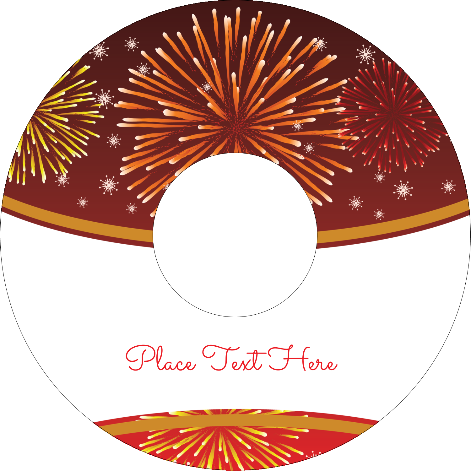 "4.65"" CD-DVD Label - New Year Red Fireworks"