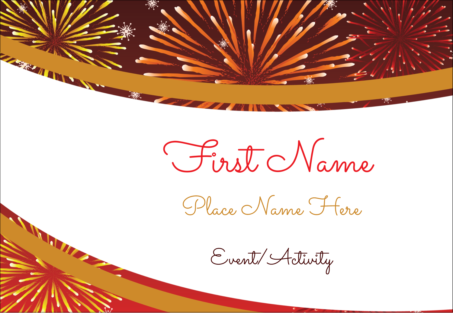 """3⅜"""" x 2⅓"""" Name Badge - New Year Red Fireworks"""