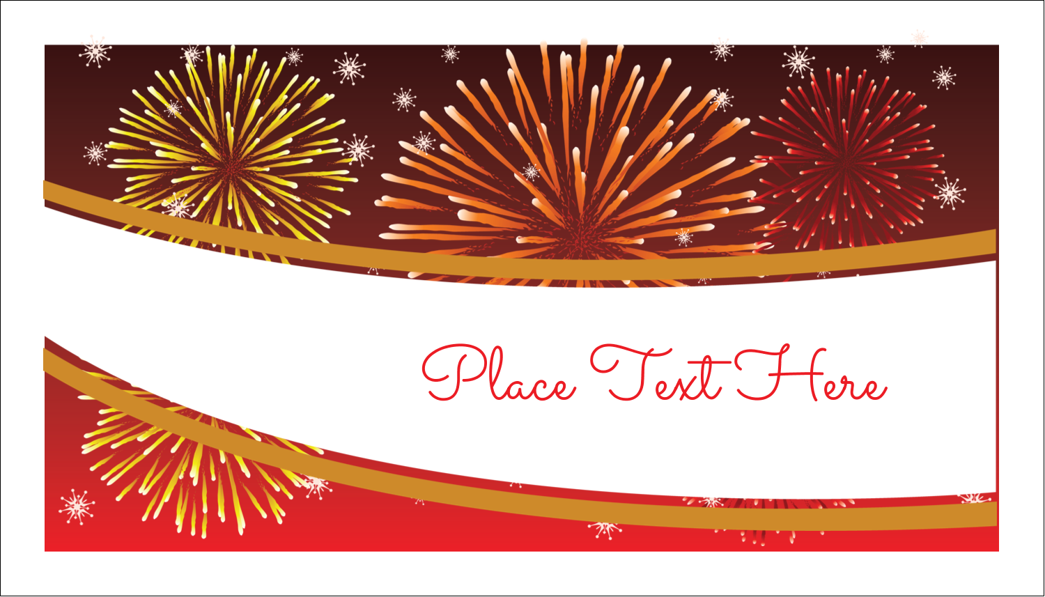 "2"" x 3½"" Business Card - New Year Red Fireworks"