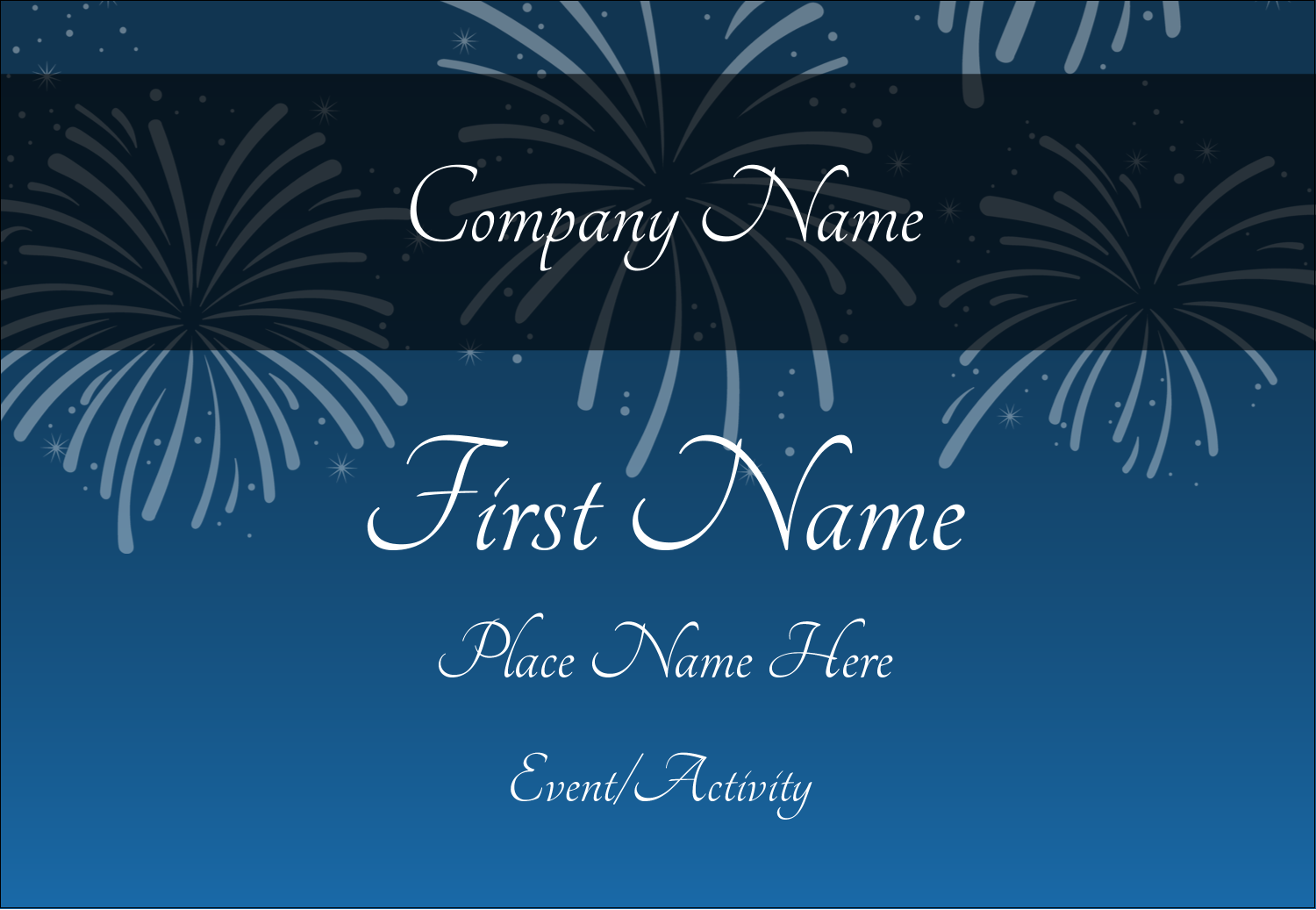 "3⅜"" x 2⅓"" Name Badge - New Year Blue Fireworks"