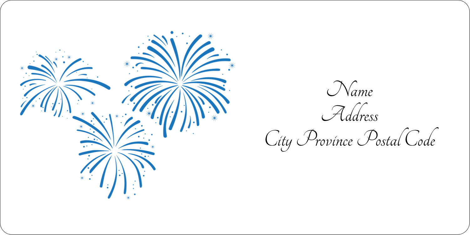 "2"" x 4"" Shipping Label - New Year Blue Fireworks"
