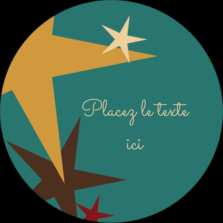 """1½"""" Diameter Étiquettes Voyantes - Étoiles du Nouvel An"""
