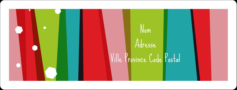 """1"""" x 2⅝"""" Étiquettes d'adresse - Rayures de Noël rétro"""