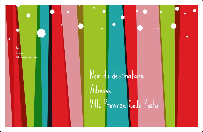 """1½"""" x 4"""" Étiquettes d'adresse - Rayures de Noël rétro"""